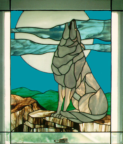 Wolf Stained Glass Window Panel